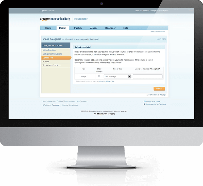 Amazon's Mechanical Turk website